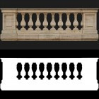 Architectural detail 004: Classical stone balustrade full balustrade & alpha