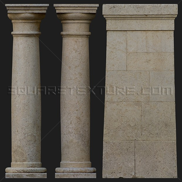 Stone Pillars And Columns : Architectural detail stylized medieval stone columns