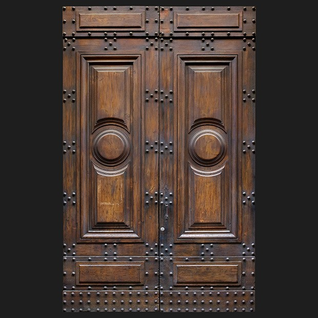 door photo Separator & Door photo 012: Old Italian wooden front door - Square Texture