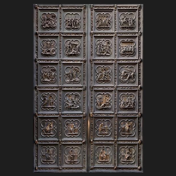 door photo Separator & Door photo 013: Historic Florentine gilded bronze door - Square Texture